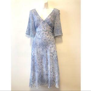 Vintage 70's Style Boho Blue Floral Dress